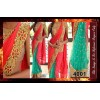 Bollywood Replica - Designer Tomato Red & Green Fancy Party Wear Saree - 4001