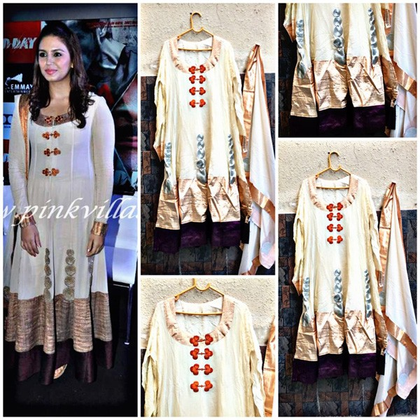 Bollywood Replica - Huma Qureshi In Designer Cream Anarkali Suit - H1