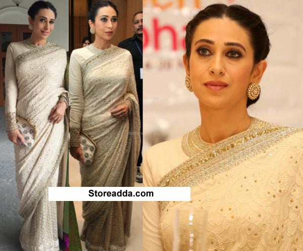 Bollywood Replica - Karishma Kapoor In White Half Net & Half Georgette  Saree - K20