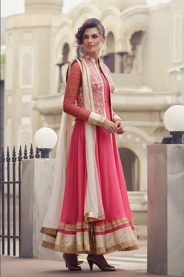 Bollywood Replica- Party Wear Pink Geogette Anarkali Suit - Hasina01