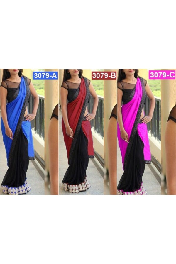 Bollywood Replica - Party Wear Satin Silk & Georgette Saree - 3079