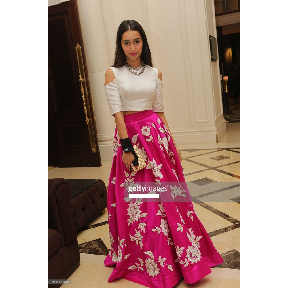 Bollywood Replica - Shraddha Kapoor Pink & White Party Wear Crop Top Lehenga - 7270