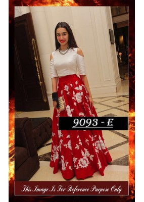 Bollywood Replica - Shraddha Kapoor Maroon & White Party Wear Crop Top Lehenga - 7270
