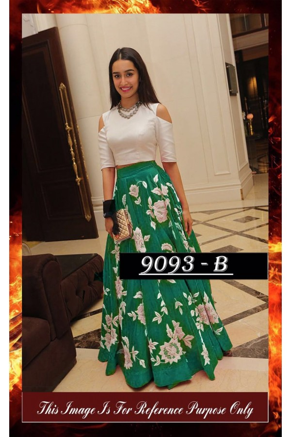 Bollywood Replica - Shraddha Kapoor Green & White Party Wear Crop Top Lehenga - 7270