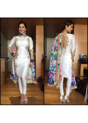 Bollywood Replica - Sunny Leone In White Embroidered Salwar Suit  - WB