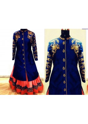 Bollywood Replica - Wedding Wear Blue & Pink Indo-Western Lehenga Choli - SDC 101