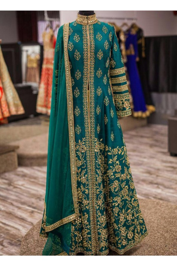 Bollywood Replica - Wedding Wear Rama Blue Slit Anarkali Suit - 9095