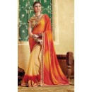 Party Wear Beige & Red Georgette  Saree - 3507