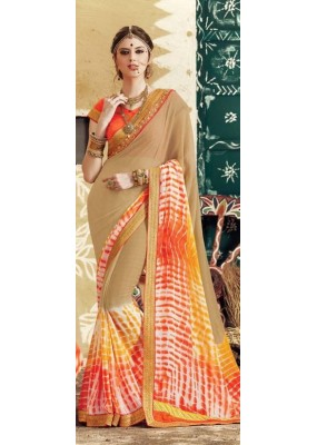 Party Wear Beige Georgette  Saree - 3513