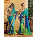 Party Wear Blue & Green Georgette  Saree - 3503