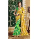 Party Wear Green & Yellow Georgette  Saree - 3510