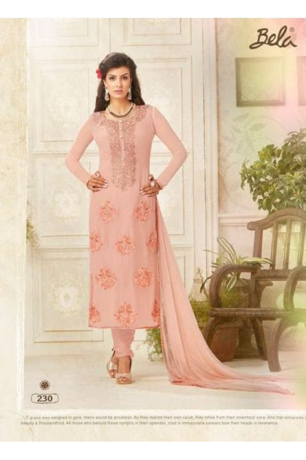 Party wear Peach Georgette Salwar suit - 230