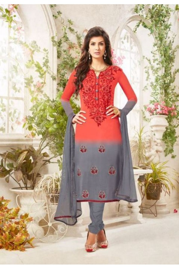 Party wear Red & Grey Georgette Salwar suit - 231