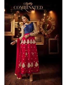 Eid Special Blue & Red Net Anarkali Suit - 106