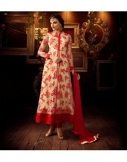 Eid Special Cream Net Anarkali Suit - 104