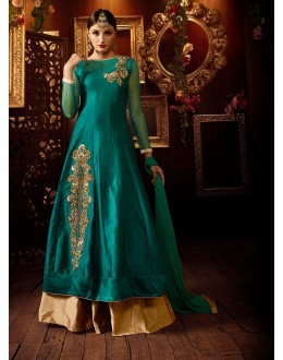 Eid Special Green Art Silk Anarkali Lehenga Suit - 103