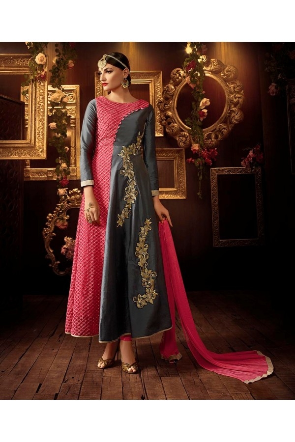 Eid Special Grey & Pink Georgette Anarkali Suit - 107
