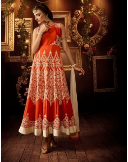 Eid Special Orange Art Silk Anarkali  Suit - 102