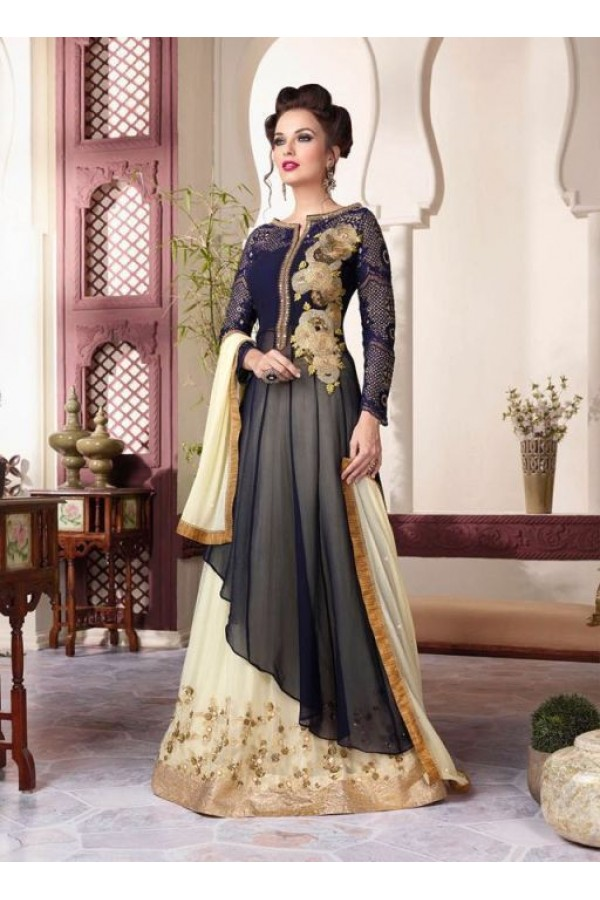 Eid Wear Blue & Beige Georgette Designer Anarkali Suit - 3801