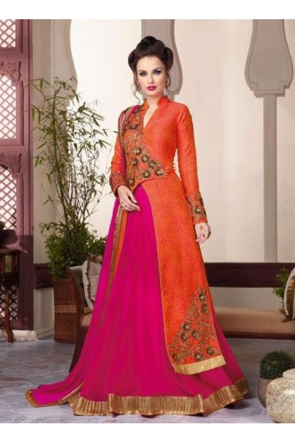 Eid Wear Orange & Pink Jacquard Designer Anarkali Suit - 3802