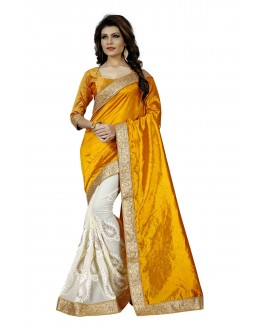 Festival Wear Mustard & Off White Saree  - TM-255