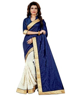Party Wear Navy Blue & Off White Saree  - TM-256