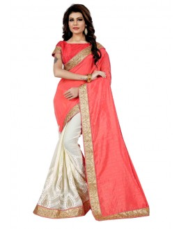 Festival Wear Pink & Off White Saree  - TM-257