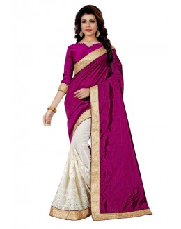 Festival Wear Wine & Off White Saree  - TM-260