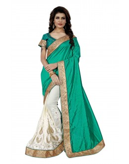 Festival Wear Blue & Off White Saree  - TM-262