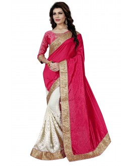 Designer Pink & Off White Saree  - TM-263