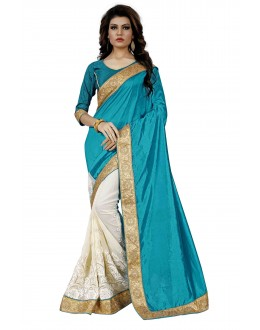 Party Wear Rama Green & Off White Saree  - TM-264