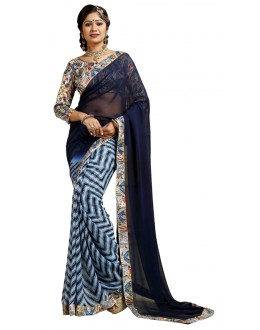 Casual Wear Blue Weightless Saree  - TM-238