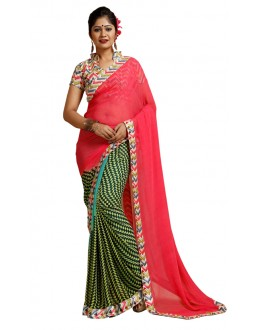 Party Wear Pink & Green Weightless Saree  - TM-241