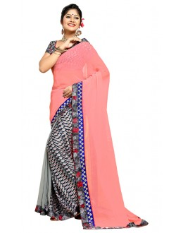 Ethnic Wear Pink & Grey Georgette Saree  - TM-184