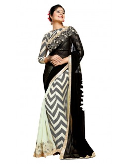 Party Wear Black & Cream Georgette Saree  - TM-186