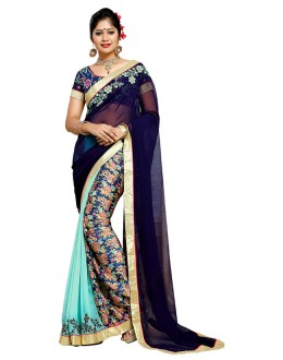 Festival Wear Blue Georgette Saree  - TM-187