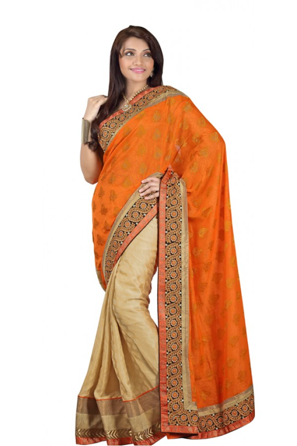 Bollywood Replica - Designer Orange & Beige Saree - TM-132