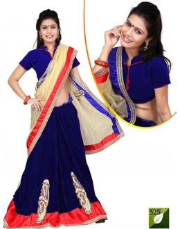 Bollywood Replica - Designer Cream & Blue Saree - TM-525