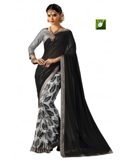 Bollywood Replica - Designer Black & Grey Saree - TM-171
