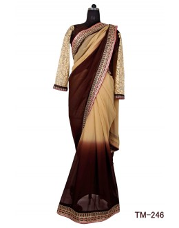 Party Wear Brown & Beige Georgette Saree  - TM-246