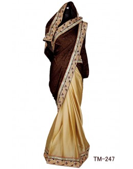 Festival Wear Brown & Beige Satin Chiffon Saree  - TM-247