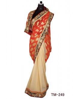 Ethnic Wear Orange & Beige Georgette Saree  - TM-249