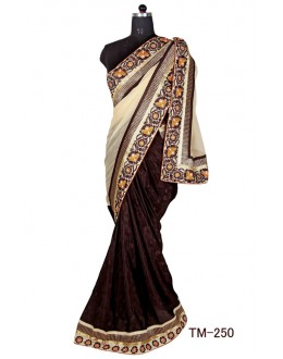 Festival Wear Beiege & Brown Chiffon Saree  - TM-250