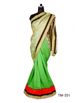 Ethnic Wear Green & Kashmiri Silk Saree  - TM-251