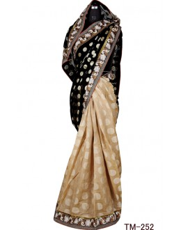 Party Wear Black & Beige Jerman Jhoot Saree  - TM-252