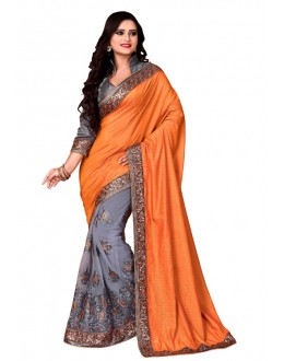 Ethnic Wear Orange & Grey Mono Net Saree  - TM-226