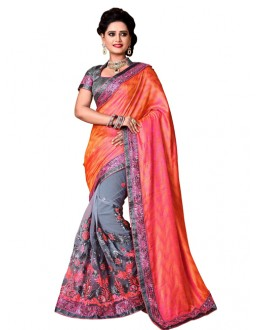 Festival Wear Peach & Grey Mono Net Saree  - TM-228