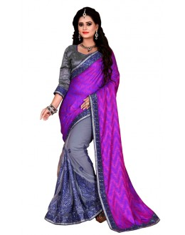 Party Wear Purple & Grey Mono Net Saree  - TM-231