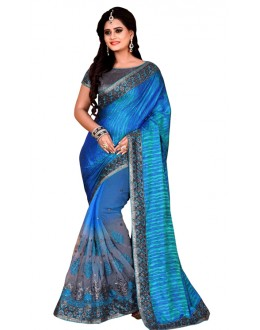 Party Wear Blue & Grey Mono Net Saree  - TM-234