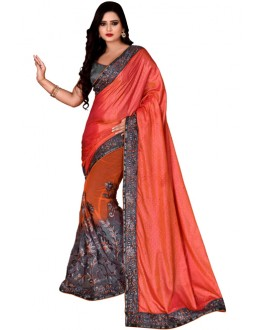 Ethnic Wear Multicolour Mono Net Saree  - TM-235